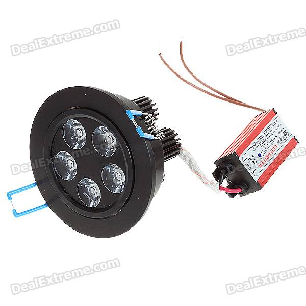 5W 5-LED White Light Ceiling Lamp/Down Light - Black (100-240V)