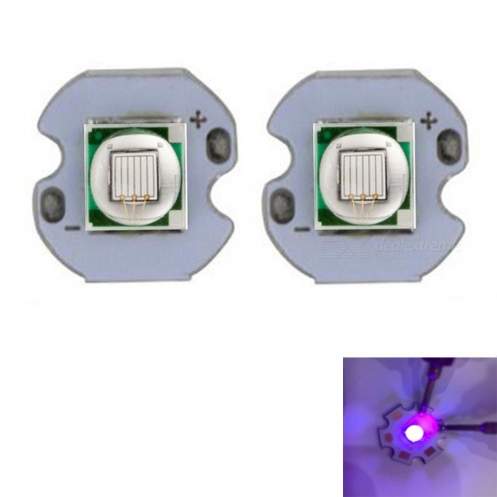 JRLED Super Bright 12mm PCB 10W Purple Light 5050 SMD LED Bead, DC3.4-3.8V (2 PCS)Leds<br>Emitting ColorpurpleSize12mmModelJR-5050-10WMaterialAluminium alloy+LEDQuantity2 DX.PCM.Model.AttributeModel.UnitPower10 DX.PCM.Model.AttributeModel.UnitRate VoltageDC3.4-3.8VWorking Current0-2500 DX.PCM.Model.AttributeModel.UnitDimmableYesEmitter Type5050 SMD LEDTotal Emitters1Beam Angle120 DX.PCM.Model.AttributeModel.UnitColor Temperature12000K,Others,N/ATheoretical Lumens100 DX.PCM.Model.AttributeModel.UnitActual Lumens90 DX.PCM.Model.AttributeModel.UnitWavelength400nmConnector TypeOthers,Solder jointCertificationCE ROHSOther FeaturesThis product adopts Taiwan large single crystal chip, packaged into 5050 types of beads, beads size and XML size.Purple can be used to Yanchao, disinfection, UV glue curing etc..Packing List2 x 10W LED Beads<br>