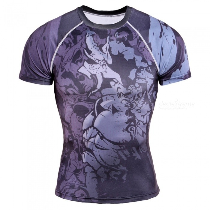 CTSmart TD71 Breathable Sports 3D Printed Tight-Fitting Short-Sleeved Mens Quick-Drying Sweatshirt - MHoodies &amp; Sweatshirts<br>ColorMixed colorSizeMModelTD71Quantity1 pieceShade Of ColorMulti-colorMaterialMilk silkStyleSportsShoulder Width40 cmChest Girth96 cmWaist Girth96 cmSleeve Length17 cmTotal Length86 cmSuitable for Height165 cmPacking List1 * Short-sleeved mens quick-drying jersey<br>