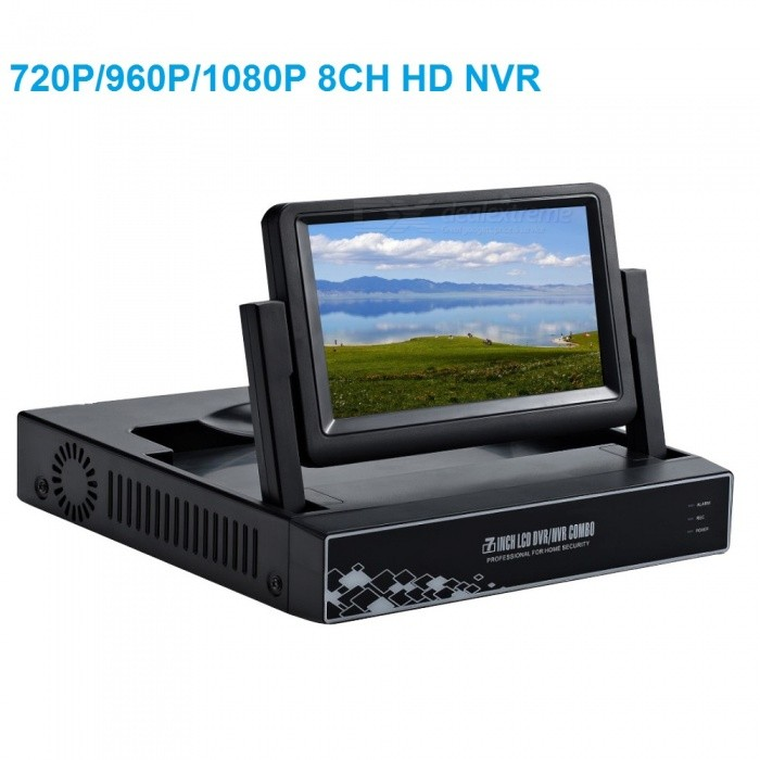 Strongshine 7LCD Screen 8Ch Full HD 720P/960P/1080P Network Video Recorder Remote View on Smartphone NVR - US PlugNVR Cards &amp; Systems<br>ColorBlackPower AdapterUSModelST-NVR9800NM-S2MaterialMetal+PlasticQuantity1 DX.PCM.Model.AttributeModel.UnitSystem ResourcesMulti-channel real-time recording synchronously,Multi-channel real-time playback,USB back upOperating SystemWindows 7,Android 3.0,Android 3.1,Android 3.2,Android 4.0,Linux,Windows 8,iOSRemote MonitoringNoPower AdaptorYesPower SupplyOthers,DC12VMobile Phone PlatformAndroid,iOSWorking Temperature-20~50 DX.PCM.Model.AttributeModel.UnitWorking Humidity10%~90%Video StandardsH.2664Decode FormatH.264Multi-mode Video InputWIREDMotion DetectionYesAudio Compression FormatAACAudio InputOthers,8CHAudio  Output1 ChannelVideo InputOthers,8CHVideo OutputOthers,8CHMonitor Quality8ch 1080/8ch 960P/8ch 720P  Real Time RecordingPlayback Quality2ch 720P or 960P realtime playback.Encode CapabilityH.264Decode CapabilityH.264Record ModeManual,Motion DetectionVideo SearchTime,Date,Channel SearchStorageNoVideo StorageLocal HDD,NetworkBack up ModeNetwork backup,USB portable,HDDUSBUSB 2.0HDD PortSATAPacking List1. 1* 8CH NVR built-in 7inch LCD screen2. 1* Power supply for NVR3. 1* Mouse for NVR 4. 1* User manual of NVR5. Screw and other parts<br>