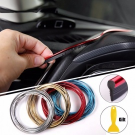 5M Auto Car Styling Interior Decoration Strips Moulding Trim Dashboard Door Edge Universal Car Accessories Plating Red