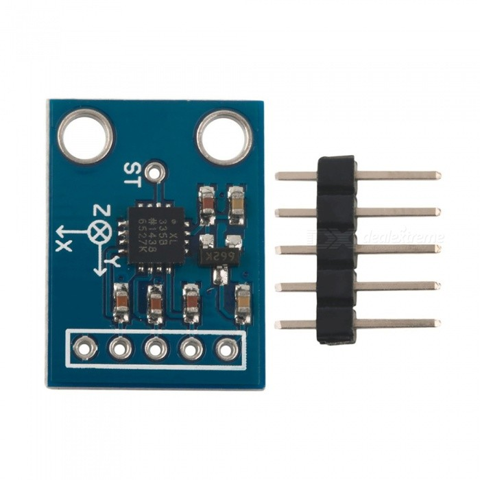 Produino ADXL335 3-Axis Analog Output Accelerometer / Angular Transducer Module for ArduinoSensors<br>Form  ColorBlueModelGY-61Quantity1 setMaterialPCBApplicationThe ADXL335 is a low power device, drawing only 350 uA, and measures an acceleration range of ±3g. This board is perfect for measuring the acceleration due to gravity for tilt-sensing applications, for measuring acceleration due to motion, or for measuring shock and vibration.Working Voltage   3-5 VEnglish Manual / SpecNoDownload Link   noPacking List1 x Module<br>