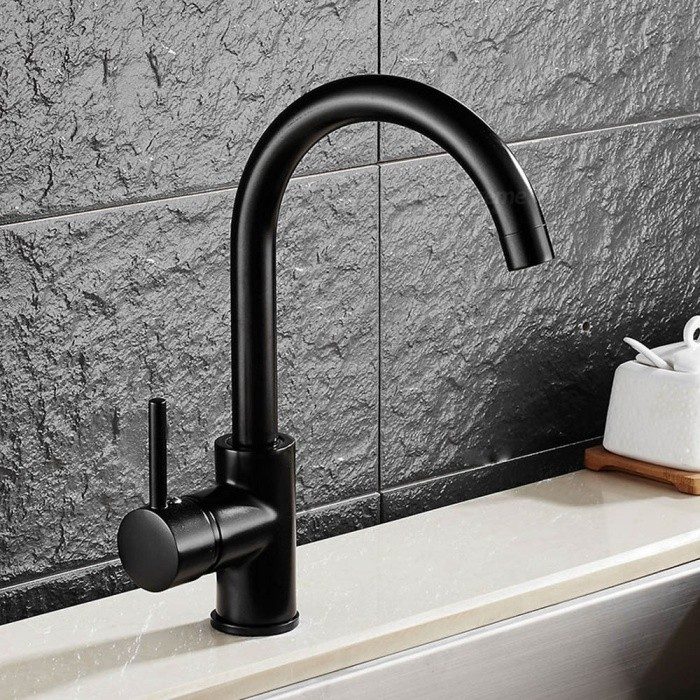 F-8076B Brass 360 Degree Rotatable Ceramic Valve Single Handle One-Hole Kitchen FaucetKitchen Faucets<br>ColorBlackSizeNorth AmericaModelF-8076BMaterialBrassQuantity1 DX.PCM.Model.AttributeModel.UnitFinishOthers,Black PaintValve TypeCeramic ValveNumber of handlesSingleSpout Height21 DX.PCM.Model.AttributeModel.UnitSpout Length18 DX.PCM.Model.AttributeModel.UnitTotal Height30 DX.PCM.Model.AttributeModel.UnitPacking List1 x Faucet2 x Stainless steel tubes (60cm)<br>