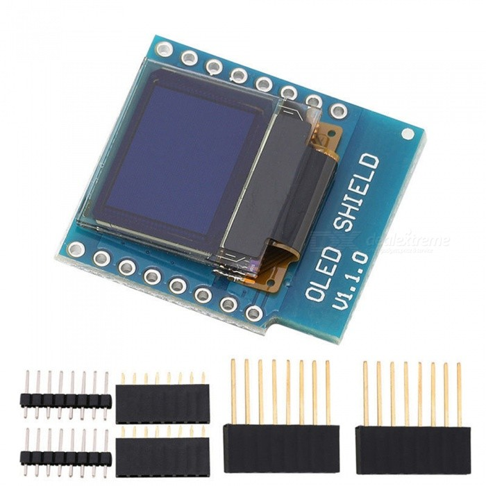 Produino D1 Mini 0 66″ OLED Shield Module with I2C/IIC 64×48 Pixels