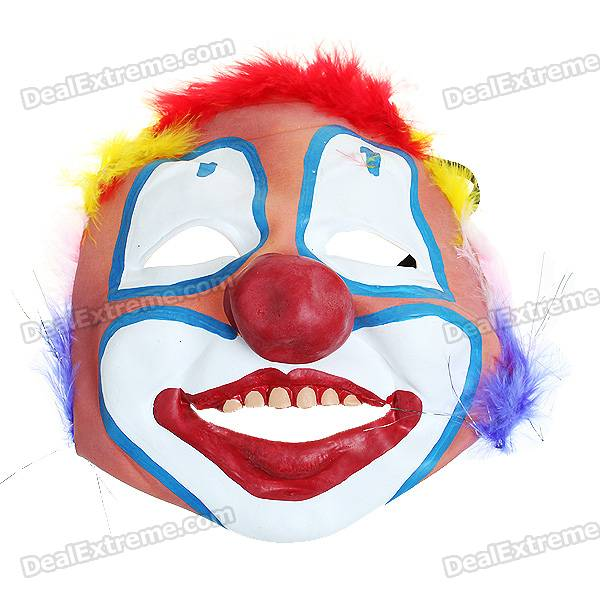 Funny Soft Rubber Clown Style Mask (Hair Color Assorted)
