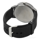Stylish Soft Silicone Watchband + Metal Dial Wrist Watch - White + Black (1*377)