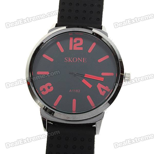 Stylish Soft Silicone Watchband + Metal Dial Quartz Watch - Red + Black (1*377)