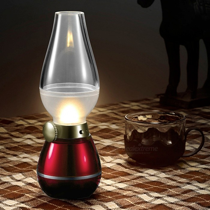 Mini Blowing Controlled Classical Creative Kerosene Lamp, LED Light Night Lamp - RedLED Nightlights<br>Form  ColorRedMaterialABS,PC, electronic componentsQuantity1 DX.PCM.Model.AttributeModel.UnitPowerOthers,0.4WRated VoltageOthers,5 DX.PCM.Model.AttributeModel.UnitColor BINYellowEmitter TypeLEDTotal Emitters3Theoretical Lumens140 DX.PCM.Model.AttributeModel.UnitActual Lumens120 DX.PCM.Model.AttributeModel.UnitDimmableYesInstallation TypeOthers,Mobile desktopPacking List1 x Small night light<br>