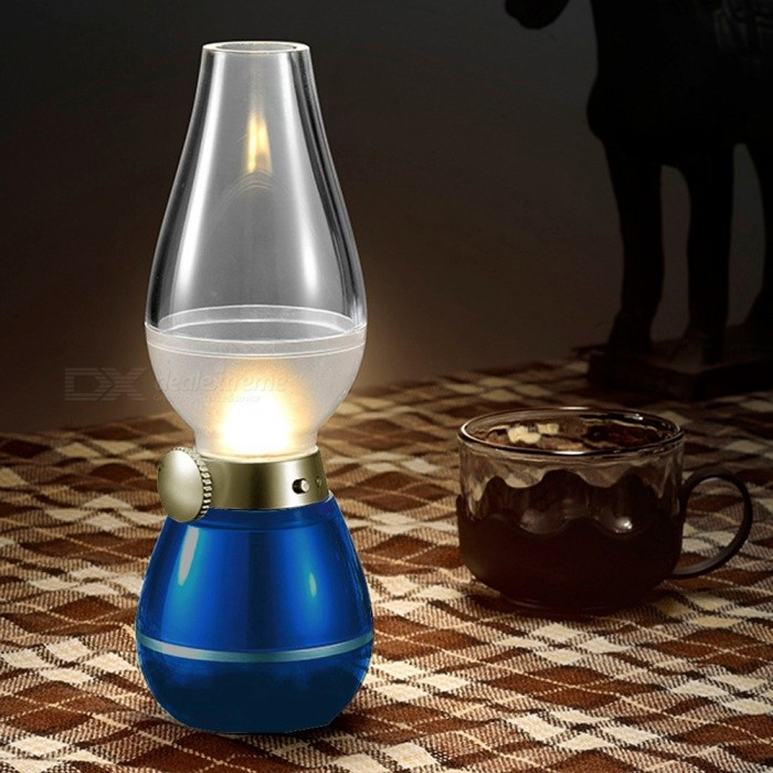 Mini Blowing Controlled Classical Creative Kerosene Lamp, LED Light Night Lamp - BlueLED Nightlights<br>Form  ColorBlueMaterialABS,PC, electronic componentsQuantity1 piecePowerOthers,0.4WRated VoltageOthers,5 VColor BINYellowEmitter TypeLEDTotal Emitters3Theoretical Lumens140 lumensActual Lumens120 lumensDimmableYesInstallation TypeOthers,Mobile desktopPacking List1 x Small night light<br>
