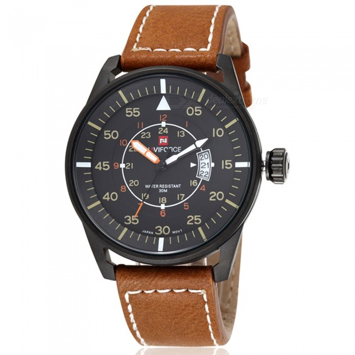 NAVIFORCE 9044 Mens Sports PU Leather Wrist Quartz Watch - Black + Brown (Without Gift Box)Sport Watches<br>ColorBlack + BrownBundlesWithout Gift BoxModelNF9044Quantity1 DX.PCM.Model.AttributeModel.UnitShade Of ColorBlackCasing MaterialStainless SteelWristband MaterialLeatherSuitable forAdultsGenderMenStyleWrist WatchTypeSports watchesDisplayAnalogMovementQuartzDisplay Format12/24 hour time formatWater ResistantWater Resistant 3 ATM or 30 m. Suitable for everyday use. Splash/rain resistant. Not suitable for showering, bathing, swimming, snorkelling, water related work and fishing.Dial Diameter4.4 DX.PCM.Model.AttributeModel.UnitDial Thickness1 DX.PCM.Model.AttributeModel.UnitWristband Length24 DX.PCM.Model.AttributeModel.UnitBand Width2.2 DX.PCM.Model.AttributeModel.UnitBattery1 x button batteryPacking List1 x Watch<br>