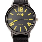 Stylish Soft Silicone Watchband + Metal Dial Wrist Watch - Yellow + Black (1*377)