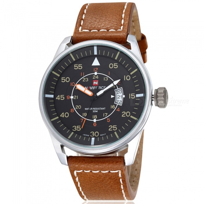 NAVIFORCE NF9044 Mens Sports PU Leather Wrist Quartz Watch - Silver + Brown (Without Gift Box)Sport Watches<br>ColorSilver + BrownBundlesWithout Gift BoxModelNF9044Quantity1 DX.PCM.Model.AttributeModel.UnitShade Of ColorSilverCasing MaterialStainless SteelWristband MaterialLeatherSuitable forAdultsGenderMenStyleWrist WatchTypeSports watchesDisplayAnalogMovementQuartzDisplay Format12/24 hour time formatWater ResistantWater Resistant 3 ATM or 30 m. Suitable for everyday use. Splash/rain resistant. Not suitable for showering, bathing, swimming, snorkelling, water related work and fishing.Dial Diameter4.4 DX.PCM.Model.AttributeModel.UnitDial Thickness1 DX.PCM.Model.AttributeModel.UnitWristband Length24 DX.PCM.Model.AttributeModel.UnitBand Width2.2 DX.PCM.Model.AttributeModel.UnitBattery1 x button batteryPacking List1 x Watch<br>