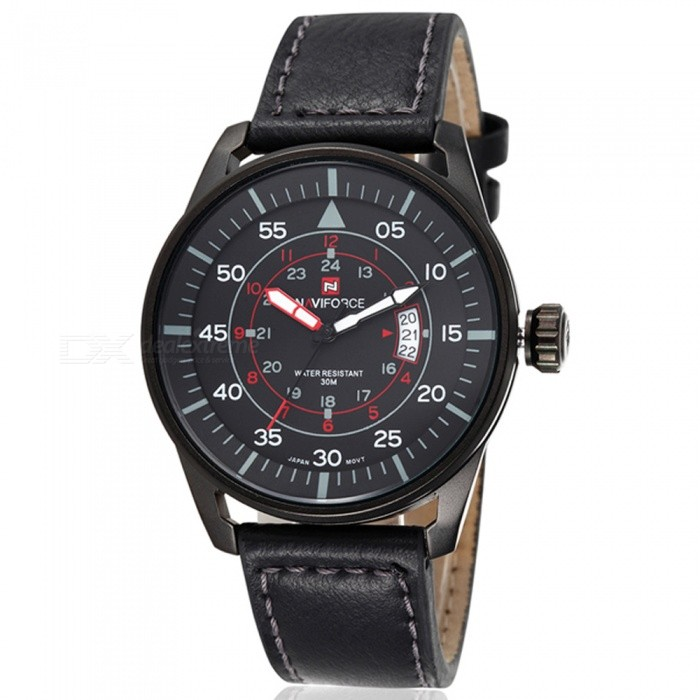 NAVIFORCE NF9044 Mens Sports PU Leather Wrist Quartz Watch - Black (With Gift Box)Sport Watches<br>ColorBlackBundlesWith Gift BoxModelNF9044Quantity1 DX.PCM.Model.AttributeModel.UnitShade Of ColorBlackCasing MaterialStainless SteelWristband MaterialLeatherSuitable forAdultsGenderMenStyleWrist WatchTypeSports watchesDisplayAnalogMovementQuartzDisplay Format12/24 hour time formatWater ResistantWater Resistant 3 ATM or 30 m. Suitable for everyday use. Splash/rain resistant. Not suitable for showering, bathing, swimming, snorkelling, water related work and fishing.Dial Diameter4.4 DX.PCM.Model.AttributeModel.UnitDial Thickness1 DX.PCM.Model.AttributeModel.UnitWristband Length24 DX.PCM.Model.AttributeModel.UnitBand Width2.2 DX.PCM.Model.AttributeModel.UnitBattery1 x button batteryPacking List1 x Watch1 x Gift Box<br>