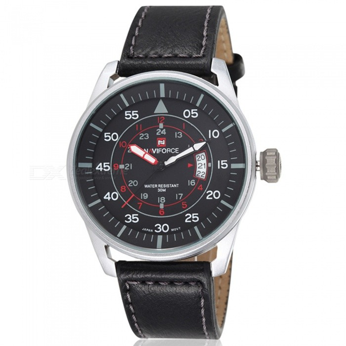 NAVIFORCE NF9044 Mens Sports PU Leather Wrist Quartz Watch - Silver + Black (With Gift Box)Sport Watches<br>ColorSilver + BlackBundlesWith Gift BoxModelNF9044Quantity1 DX.PCM.Model.AttributeModel.UnitShade Of ColorSilverCasing MaterialStainless SteelWristband MaterialLeatherSuitable forAdultsGenderMenStyleWrist WatchTypeSports watchesDisplayAnalogMovementQuartzDisplay Format12/24 hour time formatWater ResistantWater Resistant 3 ATM or 30 m. Suitable for everyday use. Splash/rain resistant. Not suitable for showering, bathing, swimming, snorkelling, water related work and fishing.Dial Diameter4.4 DX.PCM.Model.AttributeModel.UnitDial Thickness1 DX.PCM.Model.AttributeModel.UnitWristband Length24 DX.PCM.Model.AttributeModel.UnitBand Width2.2 DX.PCM.Model.AttributeModel.UnitBattery1 x button batteryPacking List1 x Watch1 x Gift Box<br>