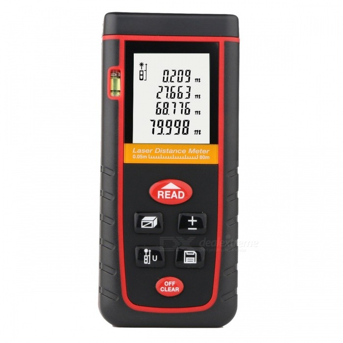 RZ-S80 Portable 80m Laser Distance MeterLaser Rangefinder, Electronic Distance Meter<br>Form  ColorBlack + RedModelRZ-S80Quantity1 DX.PCM.Model.AttributeModel.UnitMaterialABSDetection Range0.05 to 80m (0.16 to 262ft)Measuring Accuracy2mm (0.079inch)Laser LevelClass IIMax.Storage30unitsDisplayLCDPowered ByAAA BatteryBattery included or notYesEnglish Manual / SpecYesCertificationCE ROHS FCCPacking List1 x Laser distance meter (2 * AAA, not included)1 x English user manual1 x Pouch1 x Strap (17+/-2cm)<br>