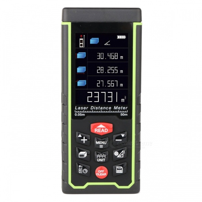 RZ-AS50 Portable 50m Laser Distance Meter with LCD DisplayLaser Rangefinder, Electronic Distance Meter<br>Form  ColorBlack + GreenForm  ColorBlack + GreenModelRZ-AS50Quantity1 DX.PCM.Model.AttributeModel.UnitMaterialABSDetection Range0.05 to 50m (0.16 to 164ft)Measuring Accuracy2mm (0.079inch)Laser LevelClass IIMax.Storage100 unitsDisplayLCDPowered ByAAA BatteryBattery included or notYesEnglish Manual / SpecYesCertificationCE, ROHS, FCCPacking List1 x Laser distance meter 1 x Pouch 1 x Hand Strap  3 x Rechargable batteries 1 x USB Connector  1 x Users manual 1 x Disc<br>