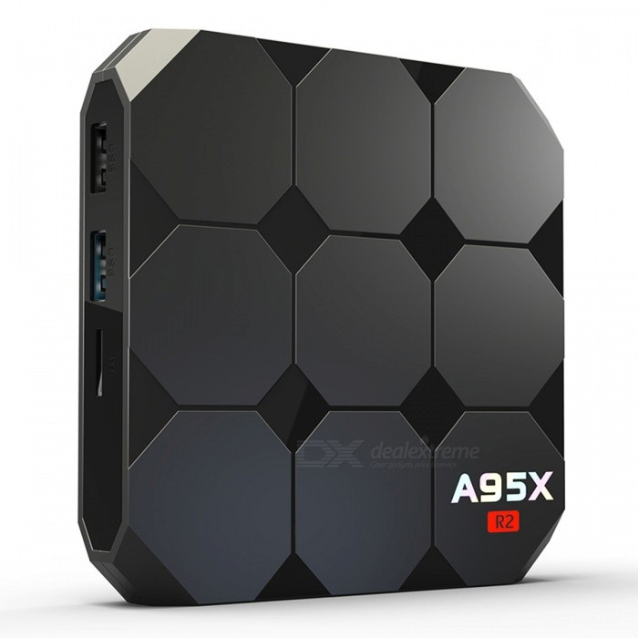 A95X R2 Android 7.1 Amlogic S905W Quad-core Cortex A53 4K HD Smart TV Box with 2GB RAM, 16GB ROM (EU Plug)Smart TV Players<br>ColorBlackRAM2GBROM16GBPlug TypeEU PlugModelA95X R2Quantity1 DX.PCM.Model.AttributeModel.UnitMaterialABSShade Of ColorBlackOperating SystemOthers,Android 7.1ChipsetS905WCPUOthers,S905WProcessor Frequency2.0GHZGPUMali-450Menu LanguageEnglish,French,German,Italian,Spanish,Portuguese,Russian,Vietnamese,Greek,Danish,Dutch,Arabic,Turkish,Japanese,Bahasa Indonesia,Malay,Czech,Greek,Romanian,Swedish,Chinese Simplified,Chinese TraditionalMax Extended Capacity32GBSupports Card TypeMicroSD (TF)Wi-Fi802.11a/b/g/nBluetooth VersionNo3G FunctionNoWireless Keyboard/Mouse2.4GAudio FormatsWMA,APE,FLAC,OGG,AC3,DTS,AACVideo FormatsAVI,MKV,MOV,M4V,PMP,AVC,FLV,VOB,MPG,DAT,MPEG,WMVAudio CodecsDTS,AC3,FLACVideo CodecsMPEG-4,H.264,VC-1,H.265Picture FormatsJPEG,BMP,PNG,GIF,TIFFSubtitle FormatsMicroDVD [.sub],SubRip [.srt],Sub Station Alpha [.ssa],Sami [.smi]idx+subPGSOutput Resolution1080PHDMI2.0USBUSB 2.0Power Supply5V 2APacking List1 x Remote Control1 x A95X R2 TV BOX1 x HDMI cable1 x EU Plug Adaptor<br>