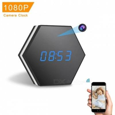 Z17 1080P Mini Camera Clock with Night Vision, Two-Way Audio, Motion Detection. Colorful LED Light - Black