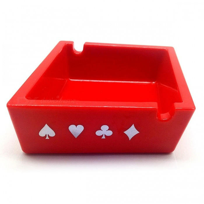 Mini Poker Pattern Red Square AshtrayAshtrays<br>ColorRedModell003MaterialEngineering plasticsQuantity1 pieceShade Of ColorRedPacking List1 x Ashtray<br>