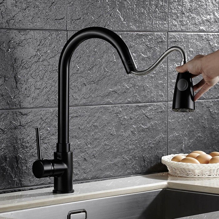 Brass Pull-out/Pull-down 360 Degree Rotatable Ceramic Valve Single Handle One-Hole Kitchen FaucetKitchen Faucets<br>ColorBlackSizeNorth AmericaModelF-8055A-B-1MaterialBrassQuantity1 DX.PCM.Model.AttributeModel.UnitFinishOthers,Black PaintValve TypeCeramic ValveNumber of handlesSingleSpout Height21 DX.PCM.Model.AttributeModel.UnitSpout Length22 DX.PCM.Model.AttributeModel.UnitTotal Height40 DX.PCM.Model.AttributeModel.UnitPacking List1 x Faucet2 x Stainless steel tubes (60cm)1 x Gravity ball<br>