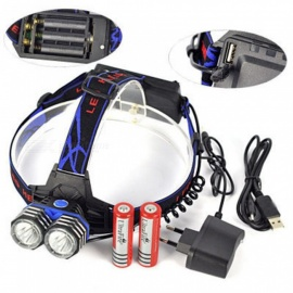 AIBBER TONE XML-T6 LED 4-Mode Rechargeable Headlight Headlamp Flashlight Head Torch w/ Charger for Camping