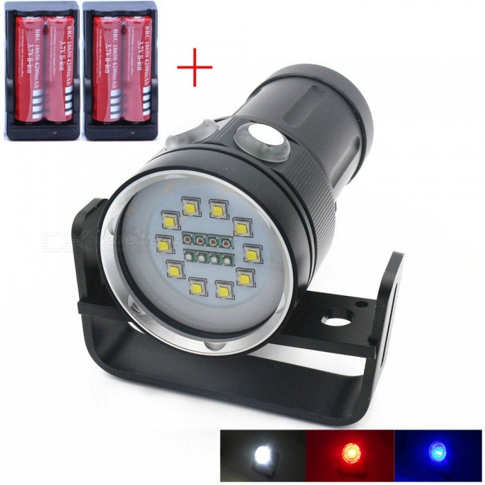 AIBBER TONE High Quality Professional CREE L2 LED White Red Blue UV Light Torch, Underwater Video Diving FlashlightDiving Flashlights<br>BundlesFlashlight + BatteryQuantity1 DX.PCM.Model.AttributeModel.UnitMaterialAluminium alloyEmitter BrandCreeLED TypeXM-LEmitter BINothers,L2Color BINRed,Purple,WhiteNumber of EmittersOthers,18Theoretical Lumens5000 DX.PCM.Model.AttributeModel.UnitActual Lumens5000 DX.PCM.Model.AttributeModel.UnitPower Supply4*18650Working Voltage   2.8~4.5 DX.PCM.Model.AttributeModel.UnitCurrent4.5 DX.PCM.Model.AttributeModel.UnitRuntime3~4 DX.PCM.Model.AttributeModel.UnitNumber of Modes3Mode ArrangementHi,Mid,LowMode MemoryNoSwitch TypeForward clickySwitch LocationSideLens Material6mm Polycarbonate BoardReflectorNoWorking Depth Underwater100 DX.PCM.Model.AttributeModel.UnitStrap/ClipNoPacking List1 x Diving light1 x Shelf4 x 18650 batteries2 x Chargers<br>