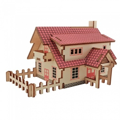 DIY Western-style Cottage 3D Wooden Puzzle Educational Toy for Kids