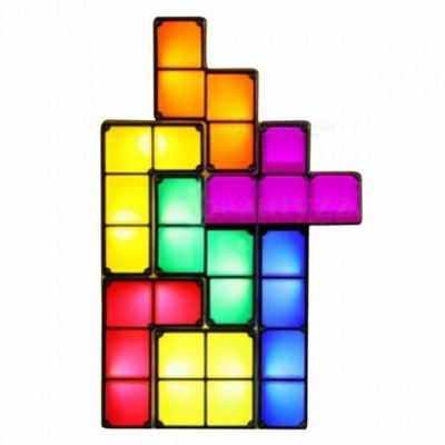 P-TOP LED Night Light Retro Style Game Stackable DIY Tetris Puzzle, Romantic Light Colorful Creative Puzzle