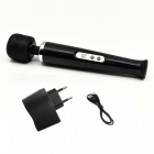 Portable Handheld USB Rechargeable Vibrating Massager Wand - Black (EU Plug)
