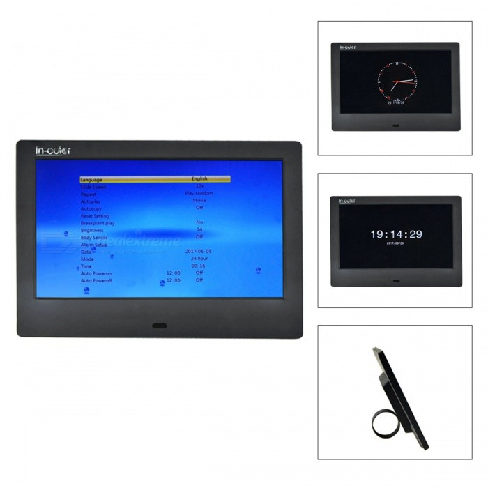 IN-Color 7 Digital Photo Frame, Support 800 x 480 Video, Music, Scroll Caption Advertising, Calendar, Clock, MP3, MP4 - BlackDigital Photo Frames<br>Form  ColorBlackModel706MaterialPlasticQuantity1 DX.PCM.Model.AttributeModel.UnitShade Of ColorBlackScreen Size7 DX.PCM.Model.AttributeModel.UnitScreen Pixels384000Resolution800 x 480Display Mode16: 9Screen TypeOLEDBuilt-in Memory / RAMNoSupports Card TypeSD,Others,USBMax Extended Capacity32GBVideo3GP,DAT,MKV,MP4,MPEG,MPG,RM,RMVB,VOB,WMVAudio Compression FormatAAC,CDA,MP3,WAV,WMAHeadphone Jack3.5mmConnectionMicro USB,Mini USB,USB 2.0Battery Capacity2000 DX.PCM.Model.AttributeModel.UnitPower AdapterUS PlugPower Supply5VPacking List1 x Power Adapter (AC 110-240V 50/60Hz, 5V 1A)1 x Remote Control1 x English Manual1 x Bracket<br>