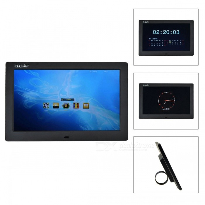 IN-Color 10 Digital Photo Frame, Support 1280 x 800 Video, Scroll Caption Advertising, Calendar, Clock, MP3, MP4 - BlackDigital Photo Frames<br>Form  ColorBlackModel108MaterialPlasticQuantity1 DX.PCM.Model.AttributeModel.UnitShade Of ColorBlackScreen Size10 DX.PCM.Model.AttributeModel.UnitScreen Pixels1024000Resolution1280 x 800Display Mode1280 x 800Screen TypeOLEDBuilt-in Memory / RAMNoSupports Card TypeSD,MS,Others,USBMax Extended Capacity32GVideo3GP,DAT,MKV,MOV,MP4,MPEG,RMVB,VOB,WMVAudio Compression FormatAAC,CDA,MP3,WAV,WMAHeadphone Jack3.5mmConnectionMicro USB,USB 2.0Power AdapterUS PlugPower Supply12VPacking List1 x Power Adapter (AC 110-240V 50/60Hz, 12V 1A)1 x Remote Control1 x English Manual1 x Bracket<br>