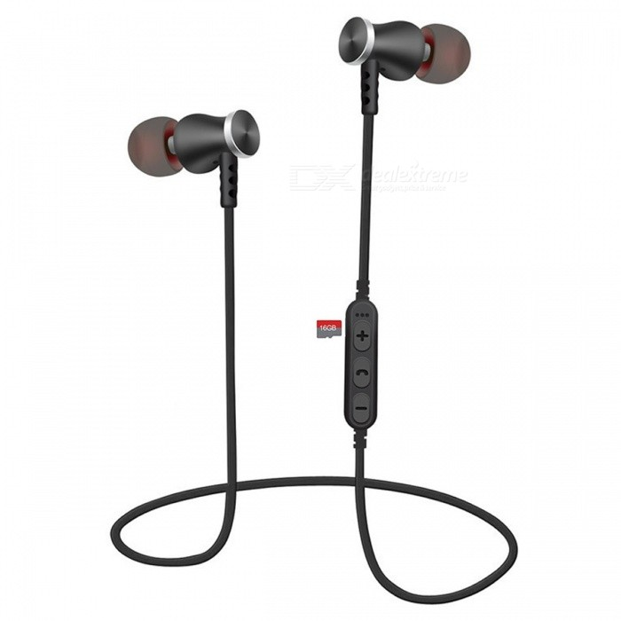 Cwxuan T5 Sports Magnetic Bluetooth V4.2 Stereo Earphones with Microphone, TF Slot for Cell Phones - Black