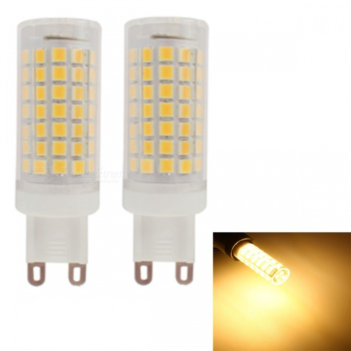 JRLED G9 6W Warm White 2835 SMD 88-LED Light Bulb No Stroboscopic Ceramic Lamp AC 230V - 2PCSG9<br>Power SupplyAC230VEmitting ColorWarm WhiteModelN/AMaterialceramics+PCForm  ColorWhite + YellowQuantity2 piecesPower6WRated VoltageAC 230 VConnector TypeG9Chip BrandEpistarChip Type2835Emitter TypeOthers,2835 SMDTotal Emitters88Theoretical Lumens800 lumensActual Lumens695 lumensColor Temperature3000KDimmableNoBeam Angle360 °WavelengthN/ACertificationCE ROHS ETLOther FeaturesThis product adopts constant current drive, no stroboscopic light source, using 88 0.2W bulbs do power is only 6W, so the heat will be greatly reduced, and the brightness of 115lm/W.Packing List2 x G9 LEDs<br>