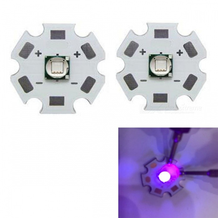 JRLED Super Bright 20mm PCB 10W Purple Light 5050 SMD LED Bead, DC3.4-3.8V (2 PCS)Leds<br>Emitting ColorpurpleSize20mmModelJR-5050-10WMaterialAluminium alloy+LEDQuantity2 DX.PCM.Model.AttributeModel.UnitPower10 DX.PCM.Model.AttributeModel.UnitRate VoltageDC3.4-3.8VWorking Current0-2200 DX.PCM.Model.AttributeModel.UnitDimmableYesEmitter Type5050 SMD LEDTotal Emitters1Beam Angle120 DX.PCM.Model.AttributeModel.UnitColor Temperature12000K,Others,N/ATheoretical Lumens100 DX.PCM.Model.AttributeModel.UnitActual Lumens90 DX.PCM.Model.AttributeModel.UnitWavelengthN/AConnector TypeOthers,Solder jointCertificationCE ROHSOther FeaturesThis product adopts Taiwan large single crystal chip, packaged into 5050 types of beads, beads size and XML size.Ultraviolet disinfection, UV curing, detectorPacking List2 x 10W LED Beads<br>