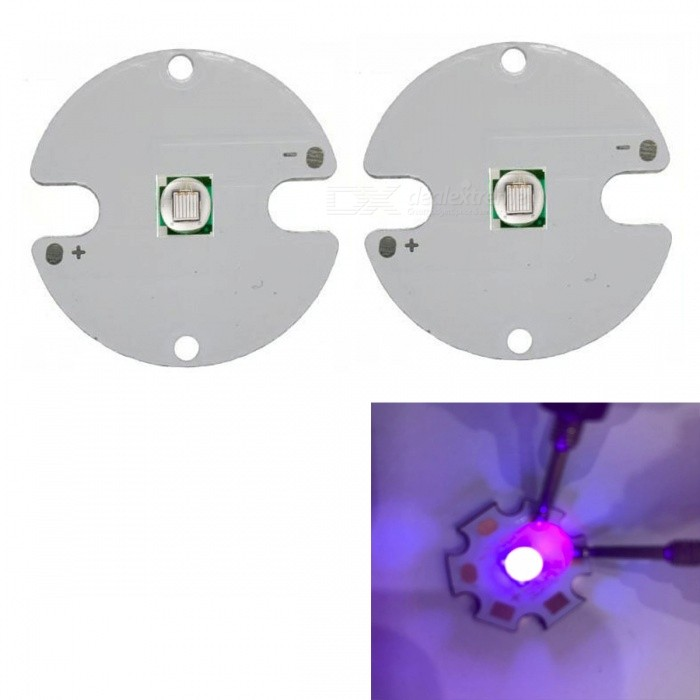 JRLED Super Bright 32mm PCB 10W Purple Light 5050 SMD LED Beads, DC3.4-3.8V (2 PCS)Leds<br>Emitting ColorPurpleSize32mmModelJR-5050-10WMaterialAluminium alloy+LEDQuantity2 DX.PCM.Model.AttributeModel.UnitPower10 DX.PCM.Model.AttributeModel.UnitRate VoltageDC3.4-3.8VWorking Current0-2200 DX.PCM.Model.AttributeModel.UnitDimmableYesEmitter Type5050 SMD LEDTotal Emitters1Beam Angle120 DX.PCM.Model.AttributeModel.UnitColor Temperature12000K,Others,N/ATheoretical Lumens100 DX.PCM.Model.AttributeModel.UnitActual Lumens90 DX.PCM.Model.AttributeModel.UnitWavelength400nmConnector TypeOthers,Solder jointCertificationCE ROHSOther FeaturesThis product adopts Taiwan large single crystal chip, packaged into 5050 types of beads, beads size and XML size.Ultraviolet disinfection, UV curing, detectorPacking List2 x 10W LED Beads<br>