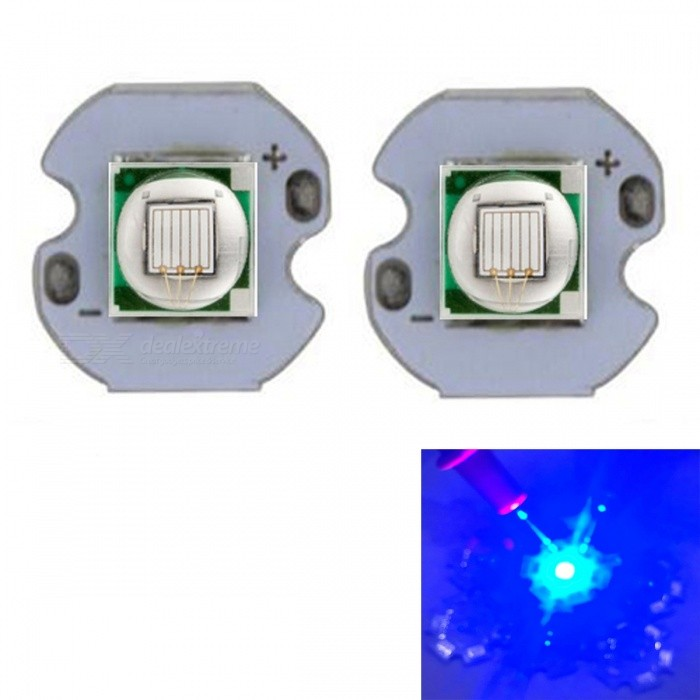 JRLED Super Bright 12mm PCB 10W Blue Light 5050 SMD LED Beads, DC3-3.5V (2 PCS)Leds<br>Emitting ColorBlueSize12mmModelJR-5050-10WMaterialAluminium alloy+LEDQuantity2 piecesPower10 WRate VoltageDC3-3.5VWorking Current0-2500 mADimmableYesEmitter Type5050 SMD LEDTotal Emitters1Beam Angle120 °Color Temperature12000K,Others,N/ATheoretical Lumens400 lumensActual Lumens300 lumensWavelength460nmConnector TypeOthers,Solder jointCertificationCE ROHSOther FeaturesThis product adopts Taiwan large single crystal chip, packaged into 5050 types of beads, beads size and XML size.Packing List2 x 10W LED Beads<br>