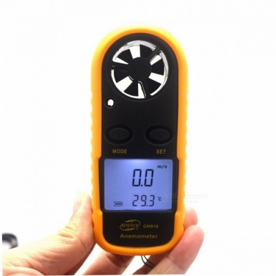 GM816 Portable Mini Digital Anemometer, Wind Speed Meter, Air Guage Thermometer with LCD Backlight Display yellow