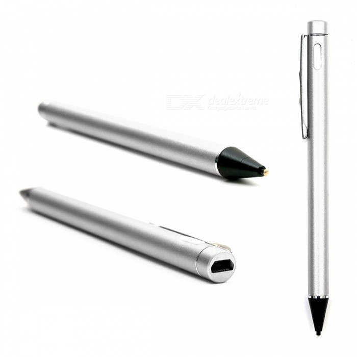 Capacitive Touch Screen Active Stylus Pen Drawing Pen for IPHONE, IPAD, Samsung, Tablet PC - SilverStyluses<br>ColorSilverQuantity1 DX.PCM.Model.AttributeModel.UnitMaterialAluminum alloyShade Of ColorSilverStylus FeaturesOthers,USB chargeCompatible ModelsIPHONE 6,IPHONE 5S,IPHONE 5C,IPHONE 5,IPHONE 4,IPHONE 4S,IPAD AIR,IPAD 4,IPAD 2Stylus Length5.12 DX.PCM.Model.AttributeModel.UnitPacking List1 x Stylus Pen<br>