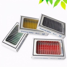 48PCS Biological Specimen Prepared Plastic Microscope Slides with 4 Boxes for Student Children Birthday Gift - Random Color