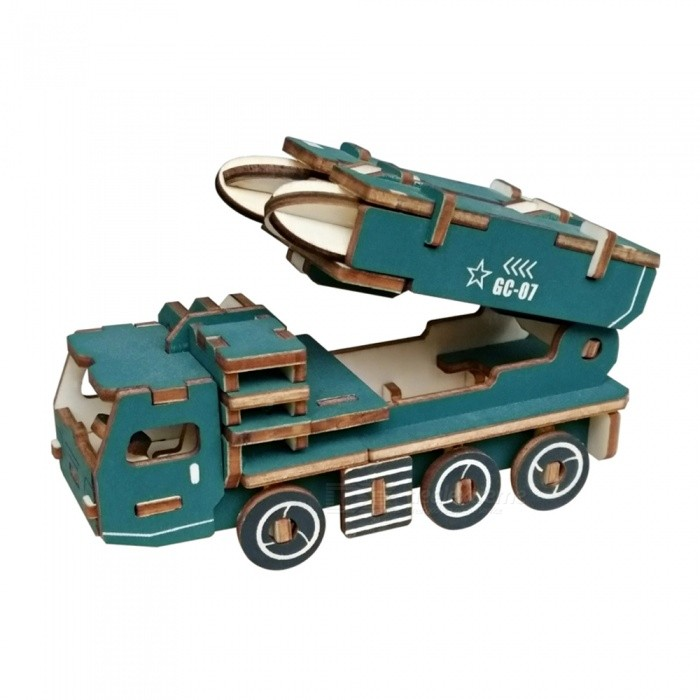 DIY Missile Car 3D Wooden Three-Dimensional Puzzle Educational ToysBlocks &amp; Jigsaw Toys<br>ColorBlueMaterialWood colorQuantity1 setNumber57Size11.9x5x6.2cmSuitable Age 5-7 years,8-11 years,12-15 yearsPacking List1 x DIY missile car three-dimensional puzzle<br>