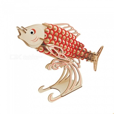 DIY Carp Style 3D Wooden Three-Dimensional Puzzle Educational Toy