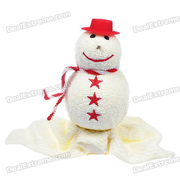 Creative Snowman Shaped Towel + Foam Christmas Ornament - Milky White + Red