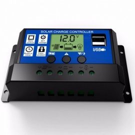 12V 24V Intelligence Solar Cell Panel Battery Charge Controller Regulator with 5V Dual USB Port, LCD Display 30A