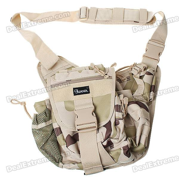 High-Quality Military Nylon Shoulder Bag - Green + Sand Color