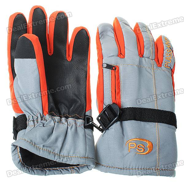 Waterproof Warm Ski Gloves for Women - Orange + Gray + Black (L-Size/Pair) outdoor genuine lady pink ski suit camouflage waterproof windproof jacket cotton 1410 018 women wear