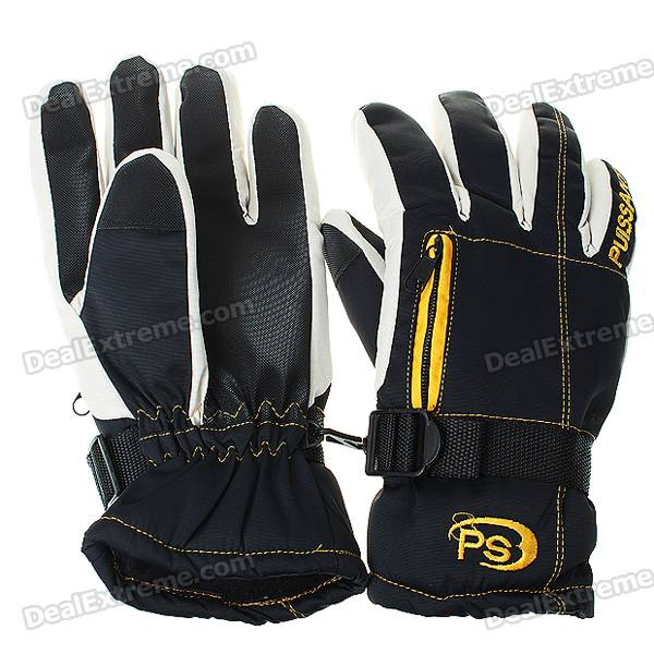 Waterproof Warm Ski Gloves for Man - Gray + Black + Yellow (XL-Size/Pair)