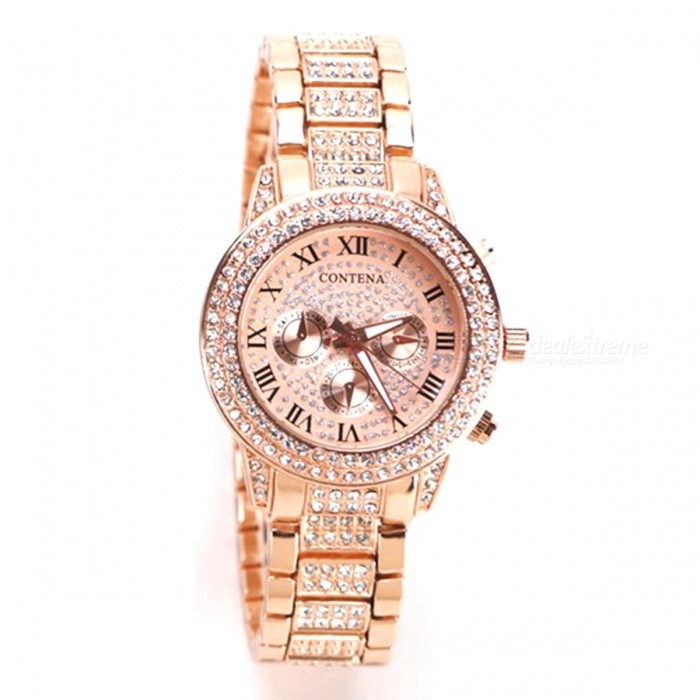 AIBBER TONE Women Luxury Brand Full Stainless Steel Diamond Geneva Quartz Watch Gift for Girl Ladies - Rose GoldWomens Bracelet Watches<br>ColorRose GoldQuantity1 DX.PCM.Model.AttributeModel.UnitShade Of ColorGoldCasing MaterialAlloyWristband MaterialAlloySuitable forAdultsGenderWomenStyleWrist WatchTypeFashion watchesDisplayAnalogDisplay Format12 hour formatMovementQuartzWater ResistantNODial Diameter3.8 DX.PCM.Model.AttributeModel.UnitDial Thickness1.1 DX.PCM.Model.AttributeModel.UnitBand Width1.8 DX.PCM.Model.AttributeModel.UnitWristband Length25 DX.PCM.Model.AttributeModel.UnitBattery1 x LR626 battery (included)Packing List1 x Watch<br>