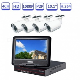 "4-Channel 10.1"" 720P Security Camera System AHD DVR Kit, 4PCS 1.0 Megapixel IR Bullet Cameras, P2P, App, HDMI - US Plug"