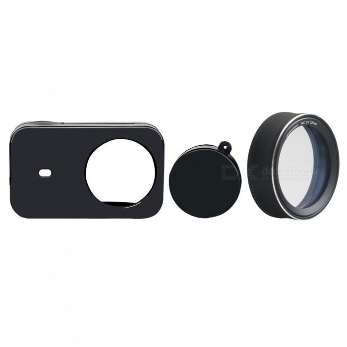 Silicone Camera Case + MCUV Protective Lens Cover for Xiaomi MiJia Sports Camera - BlackLenses Accessories<br>ColorBlackMaterialSilicone + Aluminum alloy + optical glassQuantity1 setPacking List1 x Silicone case1 x MCUV<br>