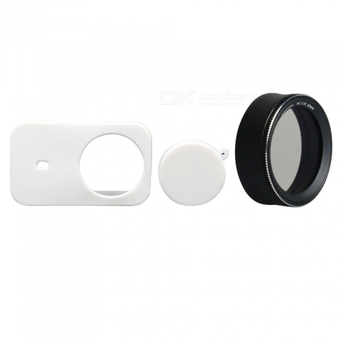 Silicone Camera Case + MC-CPL Protective Lens Cover for Xiaomi MiJia Sports Camera - White